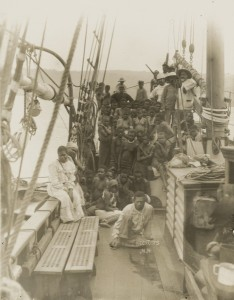 Kidnapped Pacific Islanders en route to Australian sugar plantations, about 1890.