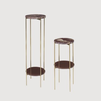 Red Marble Brass Pedestals