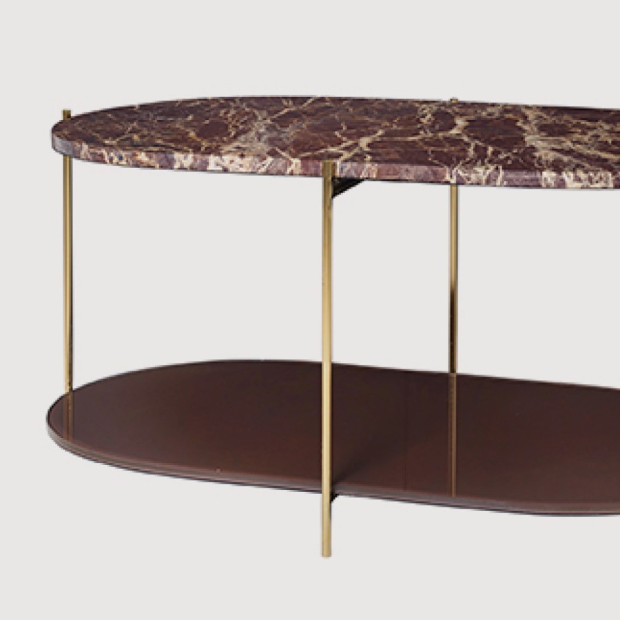 Siff Oval Marble Coffee Table – Cherry Red gallery image