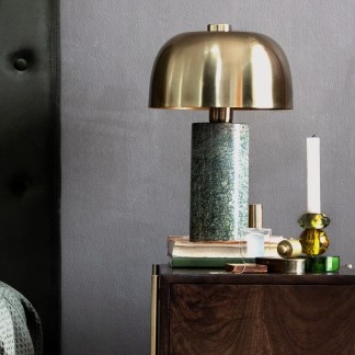 Green Marble Brass Table Lamp