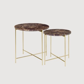 Red Marble Brass Side Tables