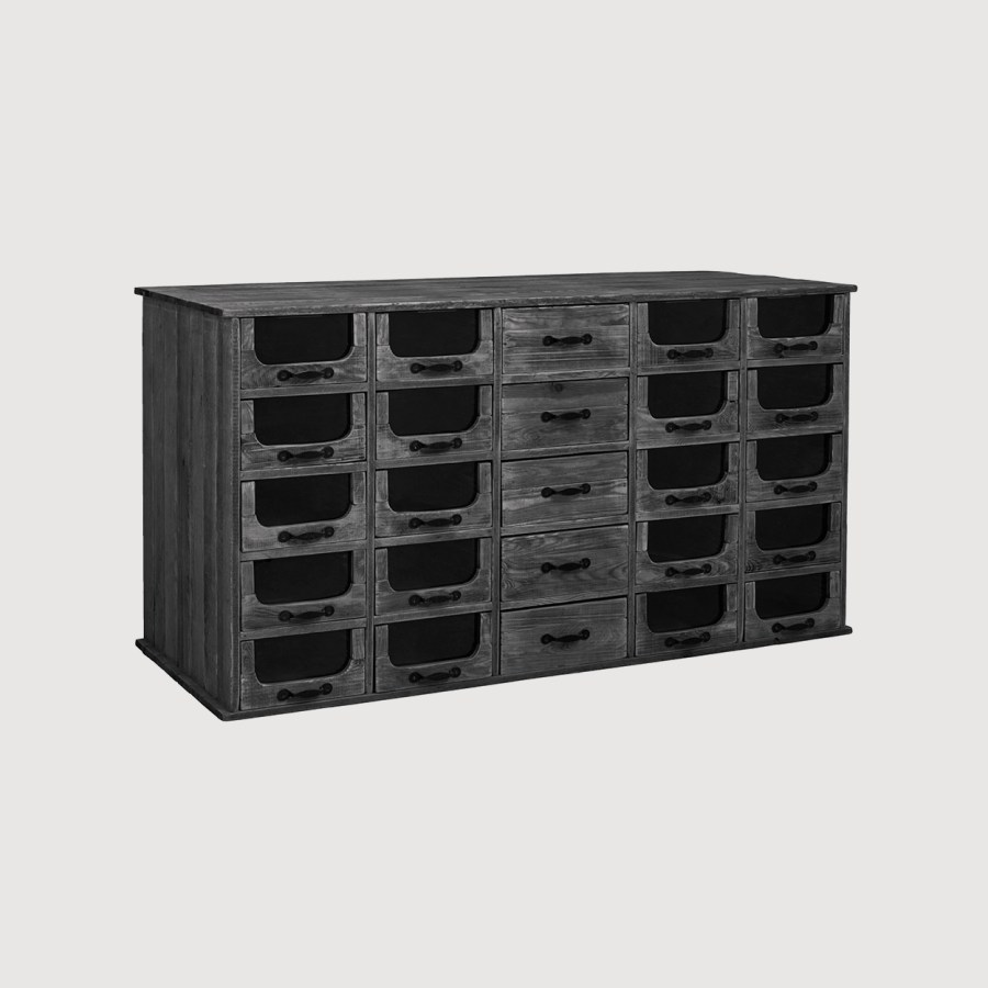 Pharmacy Black Cabinet with Drawers gallery image