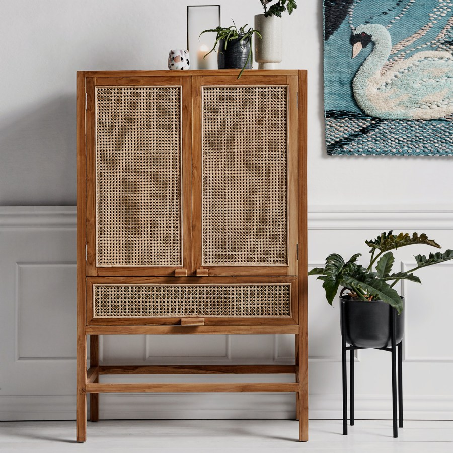 Davey Teak and Cane Cabinet gallery image
