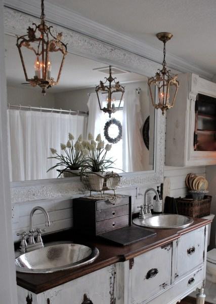 Bathroom Reveal Antique Buffet turned vanity