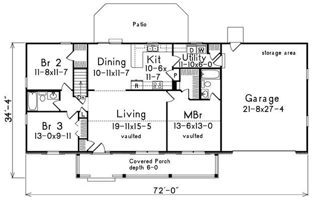 Farmhouse Plan 1400 Square Feet 3 Bedrooms 2 Bathrooms 5633 00022