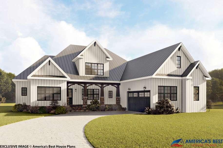 Modern Farmhouse Plan: 3,390 Square Feet, 4 Bedrooms, 3.5 ...