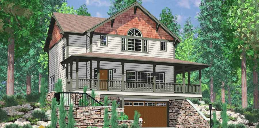 Daylight Basement Craftsman Featuring Wrap Around Porch Daylight basement house plans  Craftsman house plans  house plans with wrap  around porch  large kitchen island  3 bedroom house plans  10060