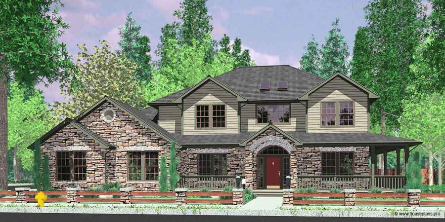 Traditional House Plan Features Wrap Around Porch  Kitchen Island House front color elevation view for 10045 Traditional House Plan features wrap  around porch  Kitchen