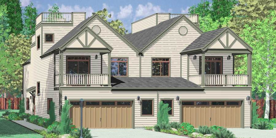 Mediterranean Duplex House Plans  Beach Duplex House Plans  House front color elevation view for D 432 Mediterranean duplex house plans   beach duplex