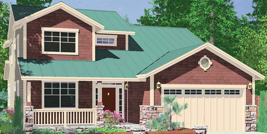 House Plans  Master On The Main House Plans  2 Story House Plans  10075 40 ft wide Narrow lot house plan w  Master on the main floor