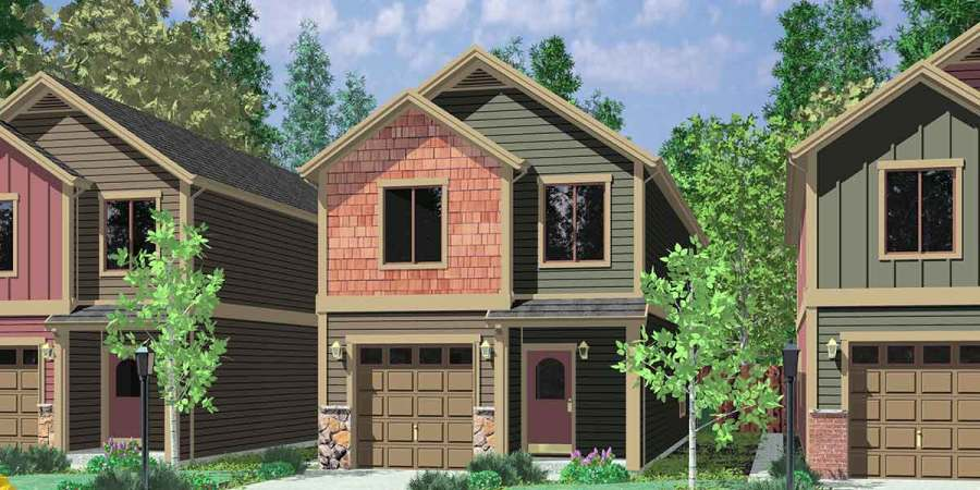 Narrow Lot House Plans  Small House Plans With Garage  10105 House front color elevation view for 10105 Narrow lot house plans  small house  plans with