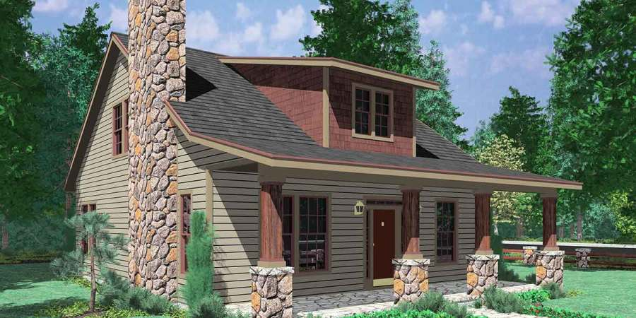 Bungalow House Plans  1 5 Story House Plans  10128 10122 Bungalow House Plans  Large Porch House Plans  1 5 Story House Plans   House