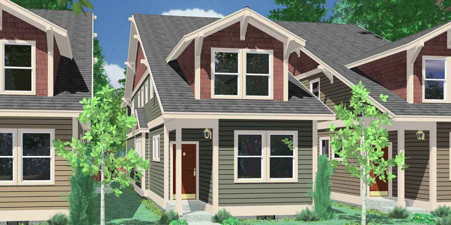 Narrow Lot House Plans  Building Small Houses for Small Lots 10119 Narrow lot house plans  house plans with rear garage  4 bedroom house  plans
