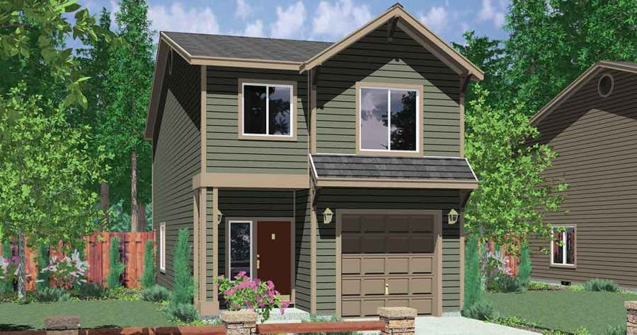Narrow Lot House Plan  Affordable House Plan  4 Bedroom  10118 House front color elevation view for 10118 Narrow lot house plans   affordable small house plans
