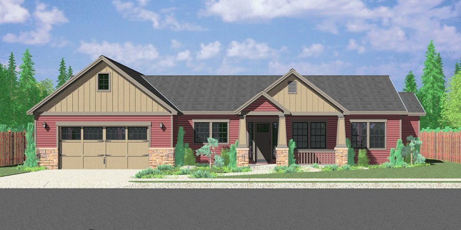 Portland Oregon House Plans  One Story House Plans  Great Room House front drawing elevation view for 10173 Portland Oregon house plans   one story house plans