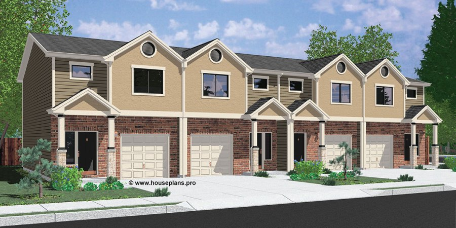 4 Plex House Plans  Multiplexes  QuadPlex Plans F 570 Fourplex house plans  3 bedroom fourplex plans  2 story fourplex plans