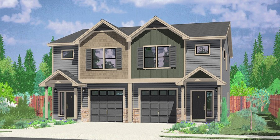 Multi Family Craftsman House Plans  for Homes Built in Craftsman D 602 Craftsman duplex house plans  townhouse plans  row house plans  D