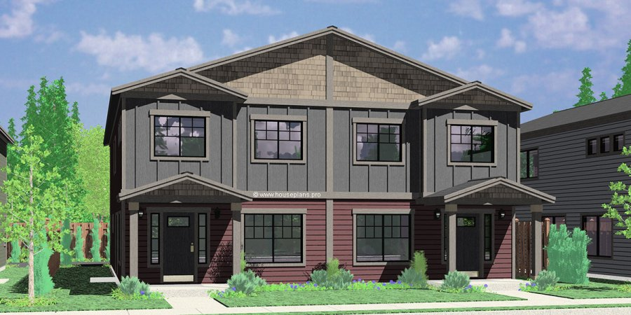 Narrow Lot duplex house plans Narrow and Zero Lot Line D 608 Duplex house plan with rear garage  narrow lot townhouse plan  D
