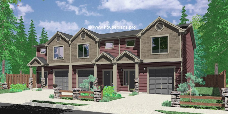 Triplex Plans With Basement  Row House Plans  Open Floor Plan     Open floor plan  T 417  House front color elevation view for T 417  Triplex plans with basement  row house