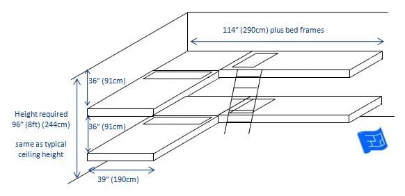 built in bunk beds 4 bunks L shape 2