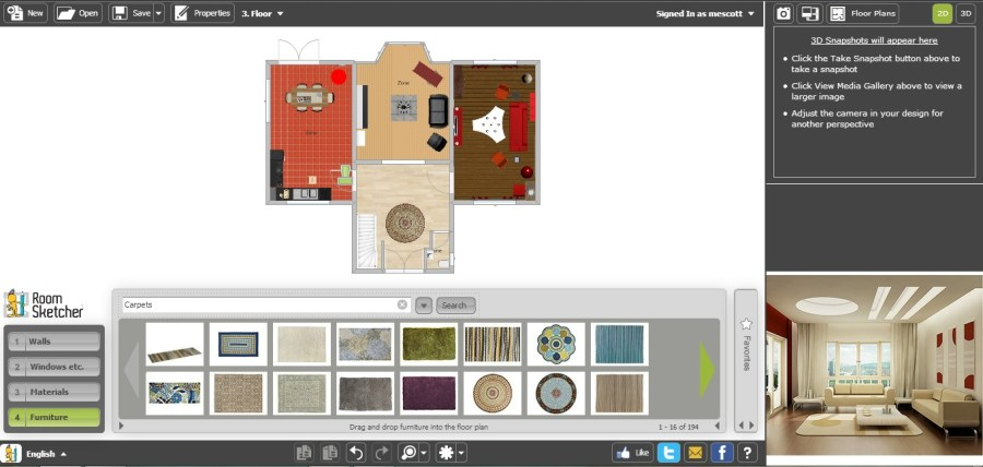 Free Floor Plan Software   RoomSketcher Review Free Floor Plan Software RoomSketcher Ground Floor with Furniture