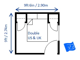 Minimum Bedroom Size For Double Bed 9ft X 6in