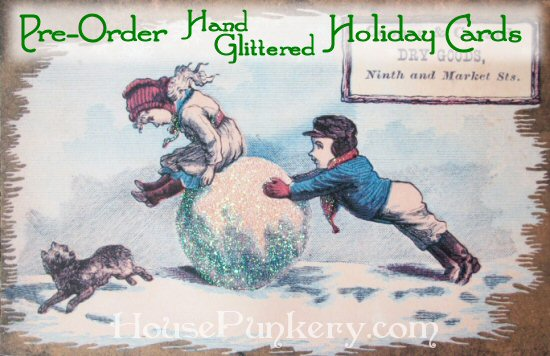 Pre-Order Custom Hand-Glittered Holiday Greeting Cards from HousePunkery