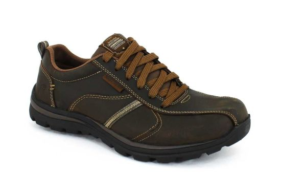 0fe9332b5ab2 Versatile style and supreme comfort combine in the SKECHERS Relaxed Fit   Superior – Levoy shoe.Smooth leather upper Heel pull on tab Lace up front  Soft ...