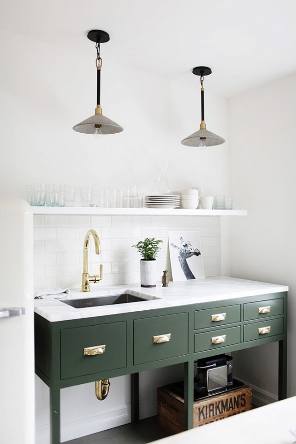green kitchenette