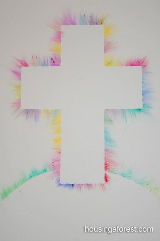 Colorful Light Ray Cross ~ Oil Pastel Kids art