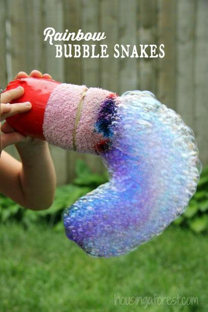 Rainbow Bubble Snakes ~ outdoor fun