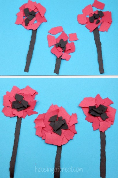 Torn Poppy Craft   Housing a Forest Torn Flower Craft   Veteran s Day or Remembrance Day Poppy for Kids