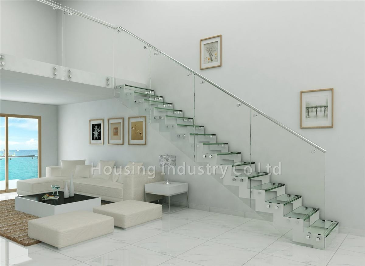 Tempered Glass Panel Stairs Glass Railing Straight Staircase Hs Zp | Glass Staircase Panels Near Me | Modern Staircase Railing | Tempered Glass | Wood | Stair Balustrade | Stair Case