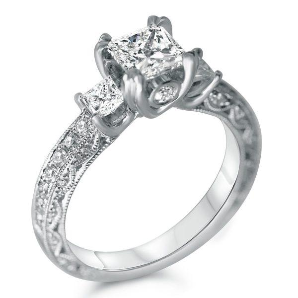 1 3/4cttw Antique Three Stone Princess Cut Engagement Ring ...