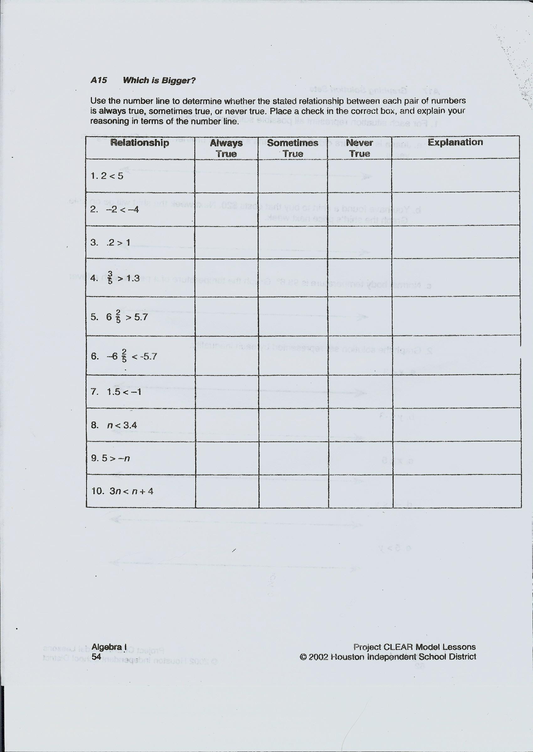 Printable Math Worksheets Domain And Range Answer Key