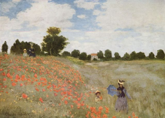 A public domain image of flowers in a field! Claude Monet's Coquelicots, La promenade (Poppies), 1873