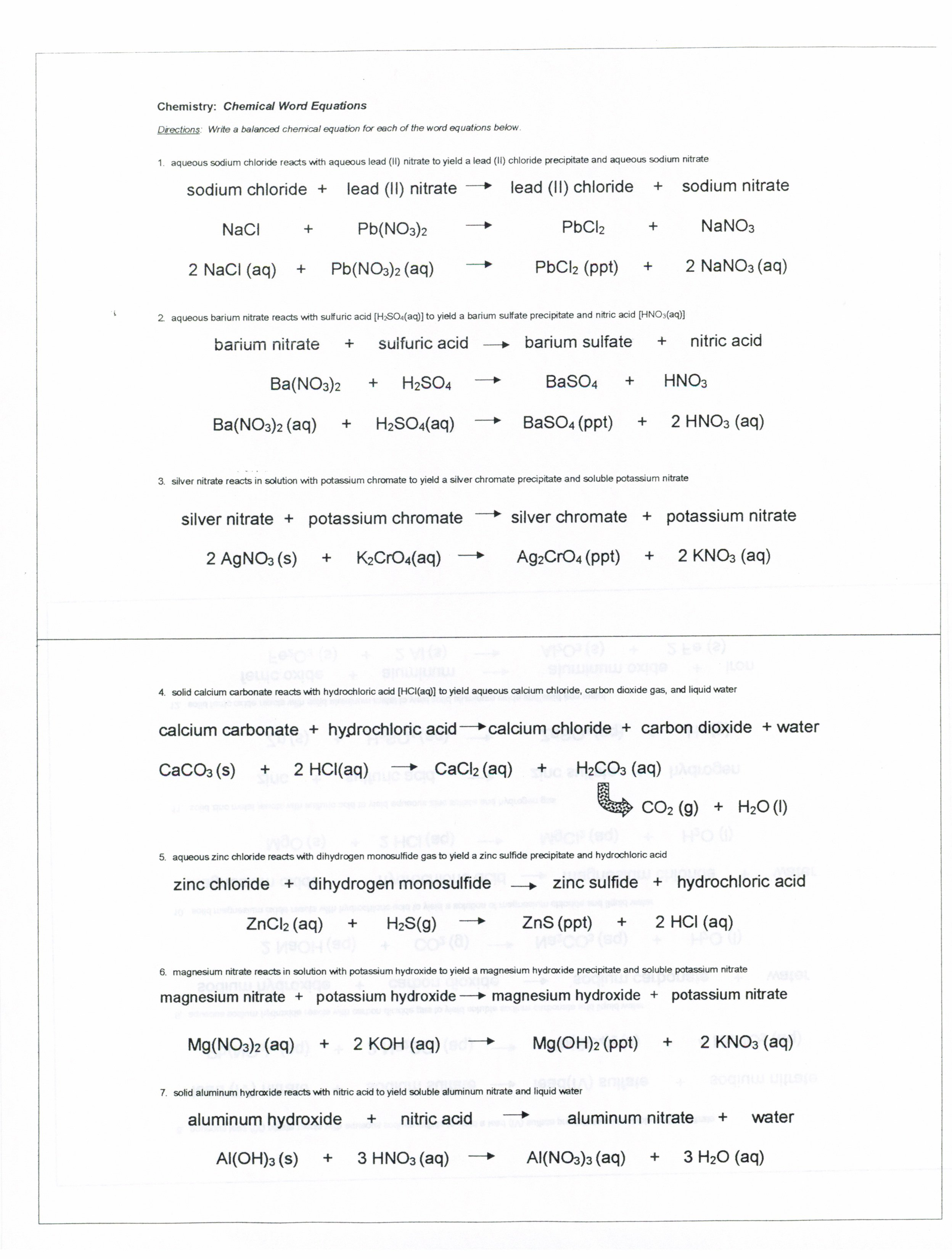 Balancing Equations Worksheet Chemistry 1 Free