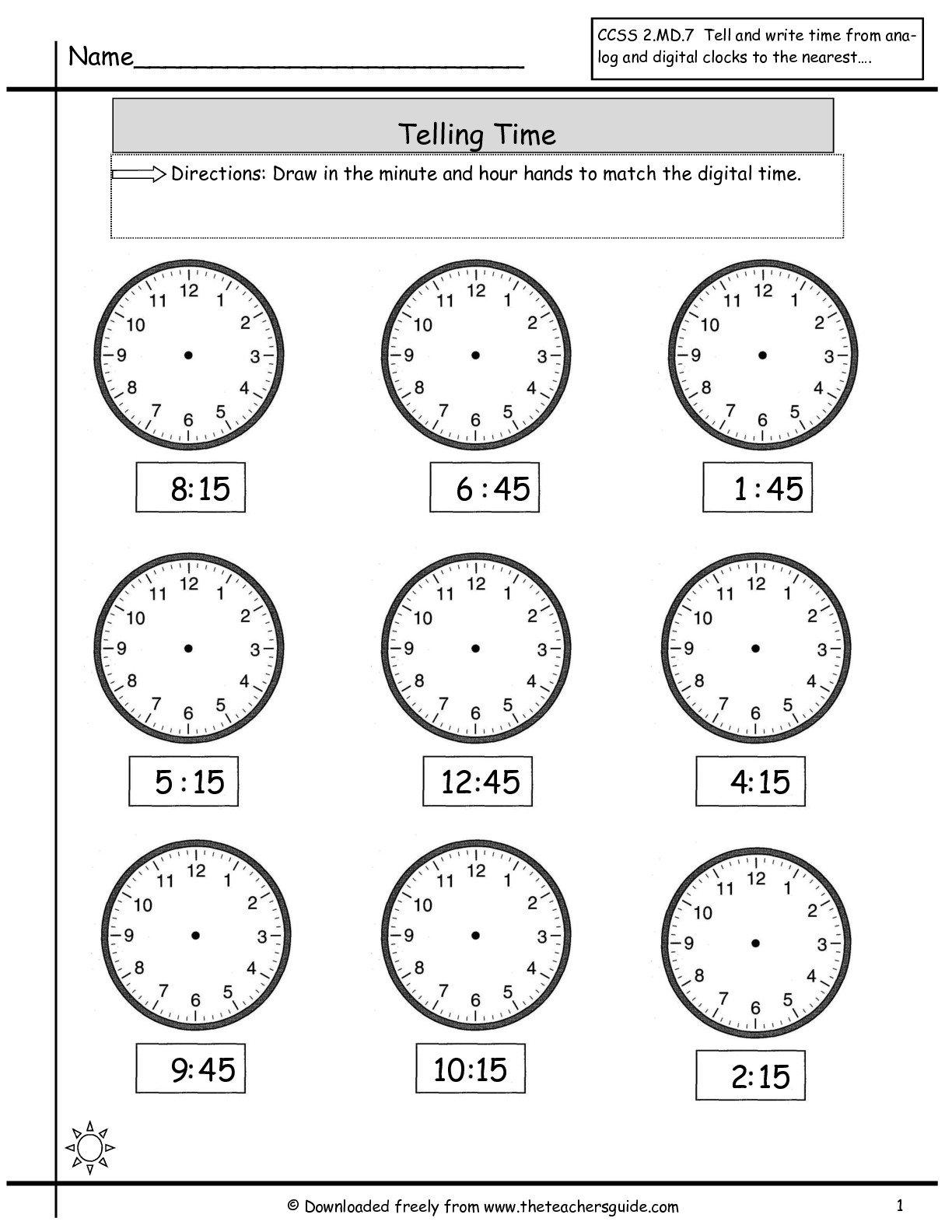 Quarter Hour Clock Worksheets