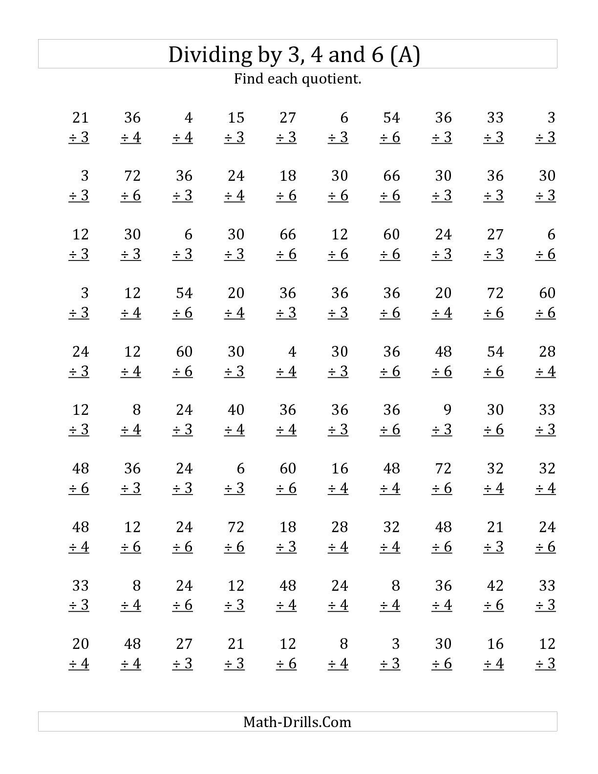 Math Worksheets Division