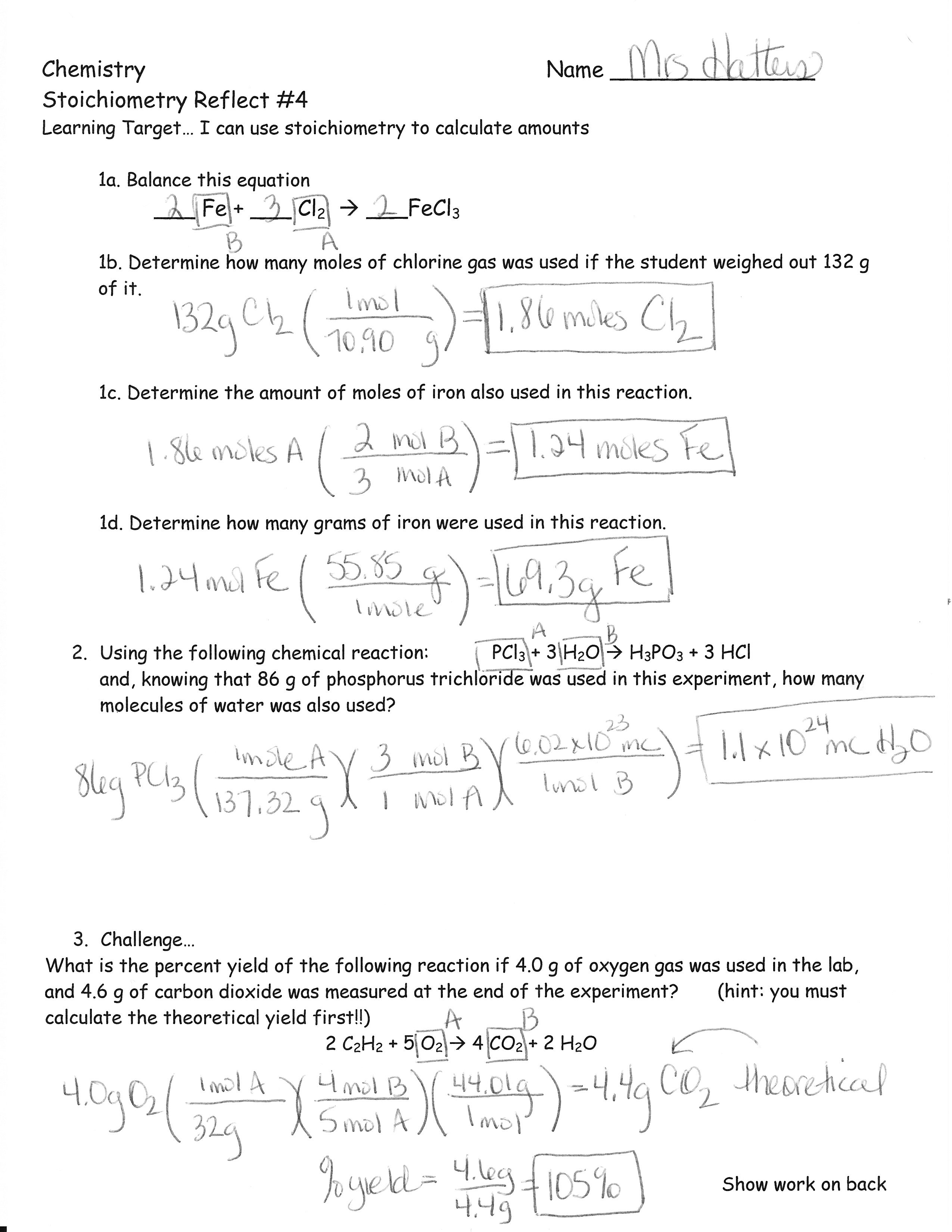 Stoichiometry Worksheets Answers