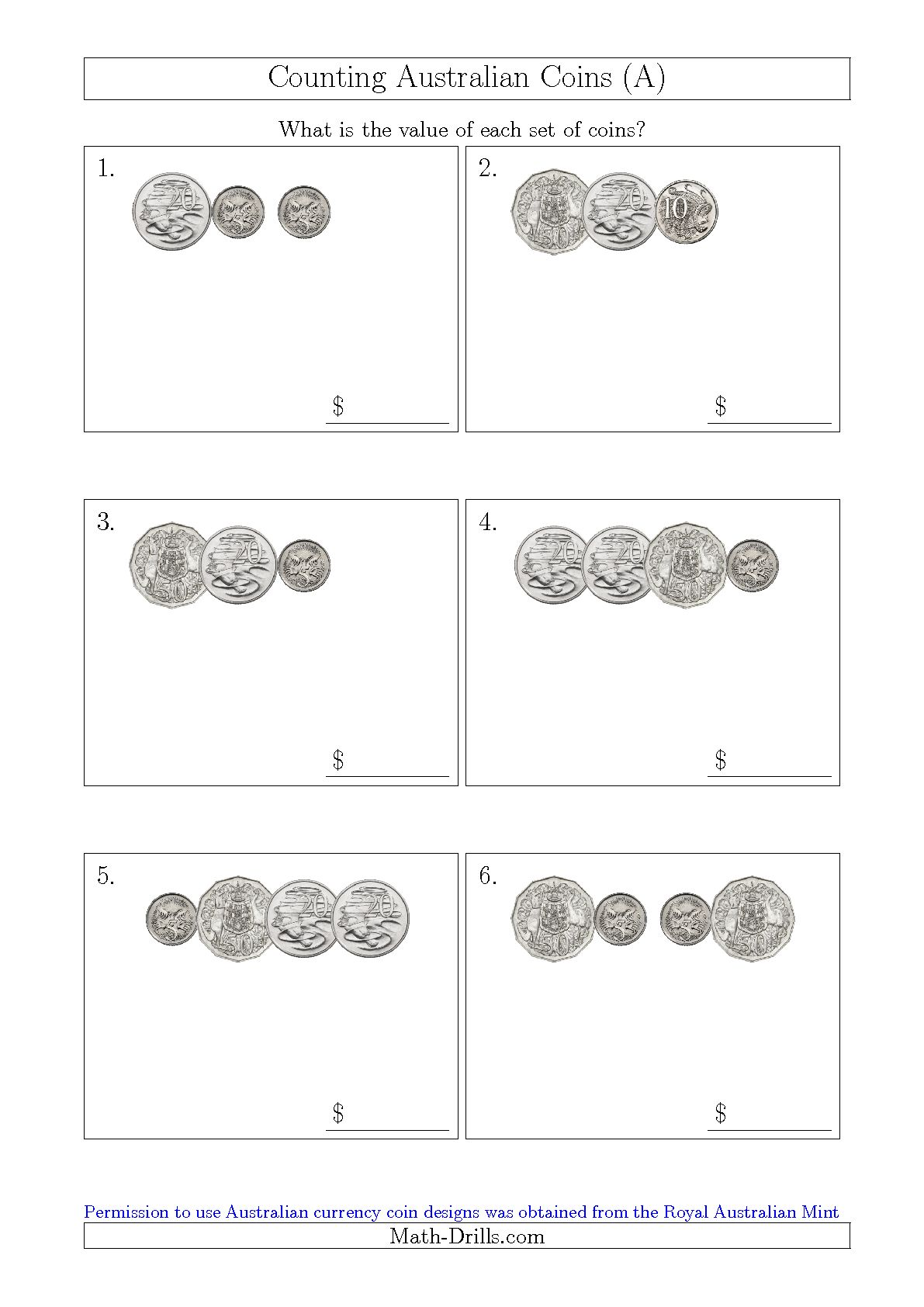Counting Australian Coins Worksheets