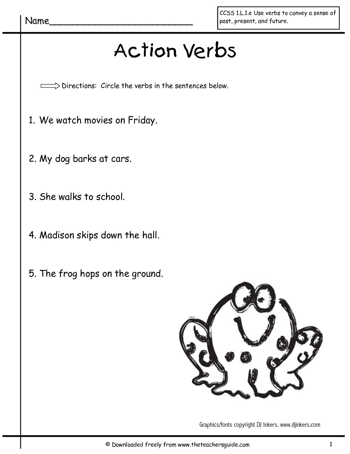 Verb Worksheets First Grade Free Library Download And