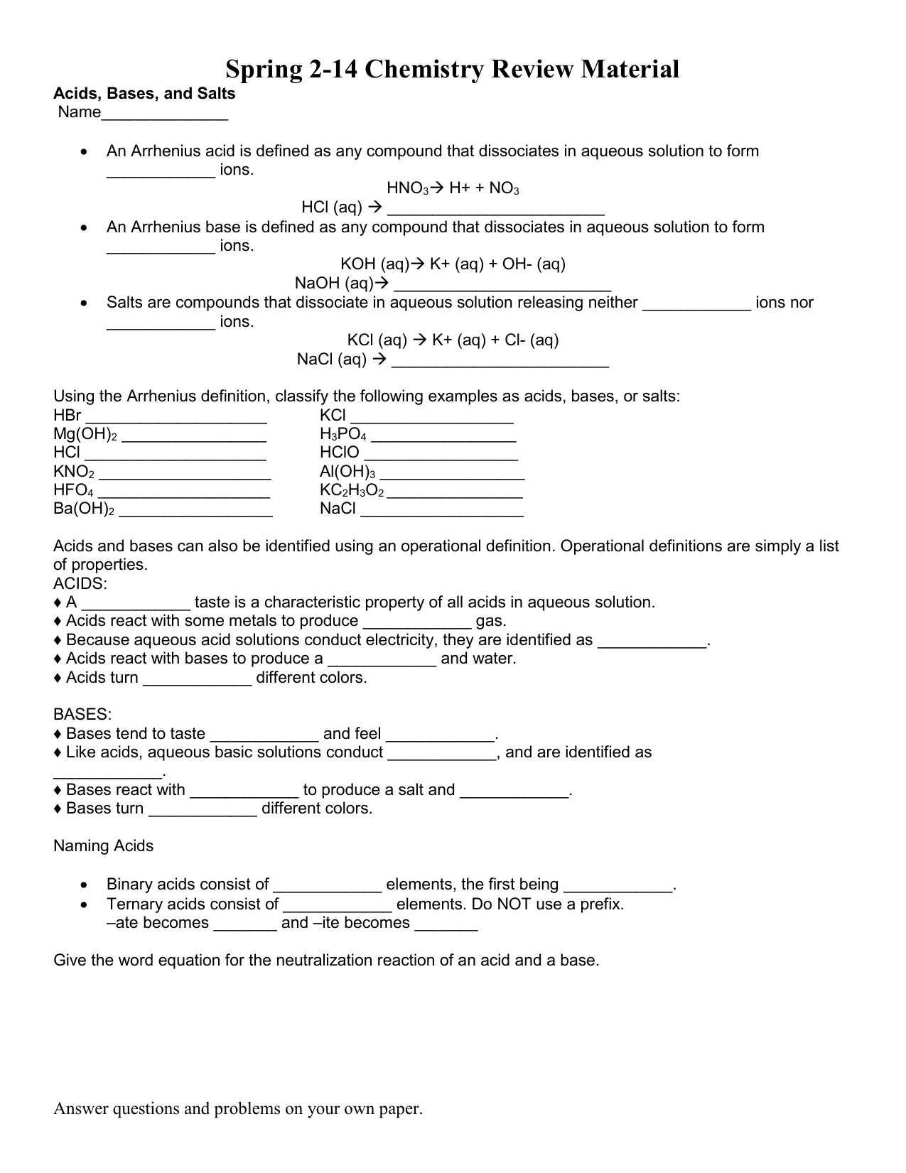 Acids Bases And Ph Worksheet The Best Worksheets Image
