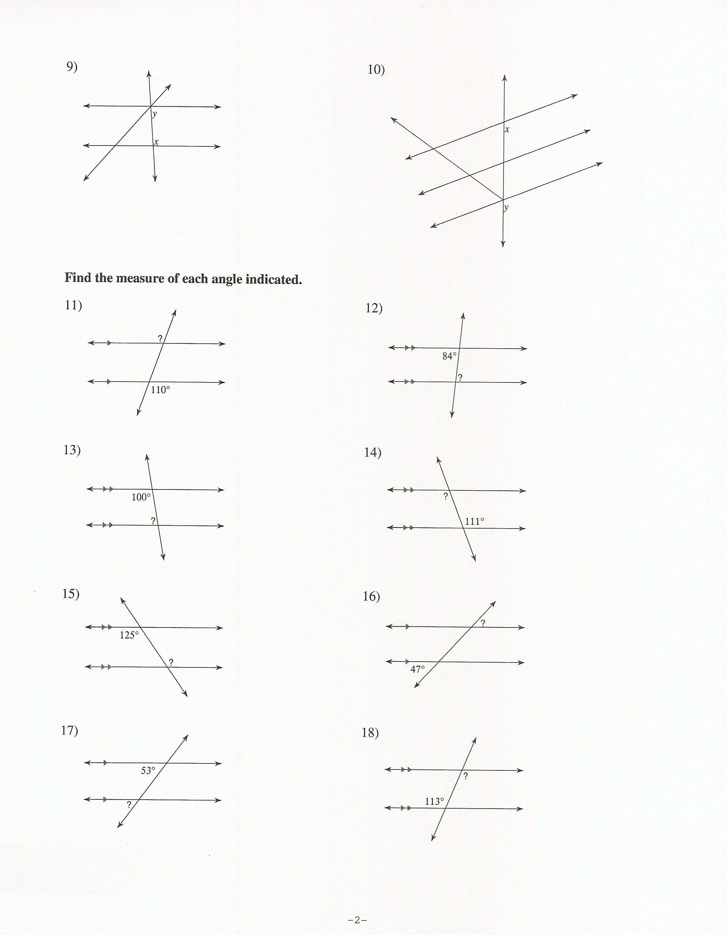 Geometry Parallel Lines And Transversals Worksheet The