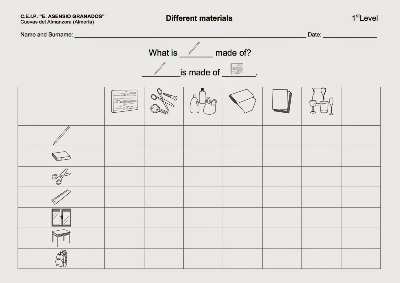 Science Materials Worksheets