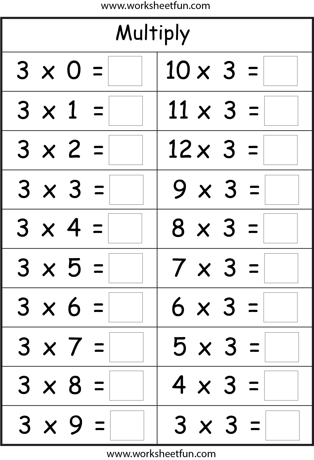 Printable Multiplication Worksheets By 3 The Best