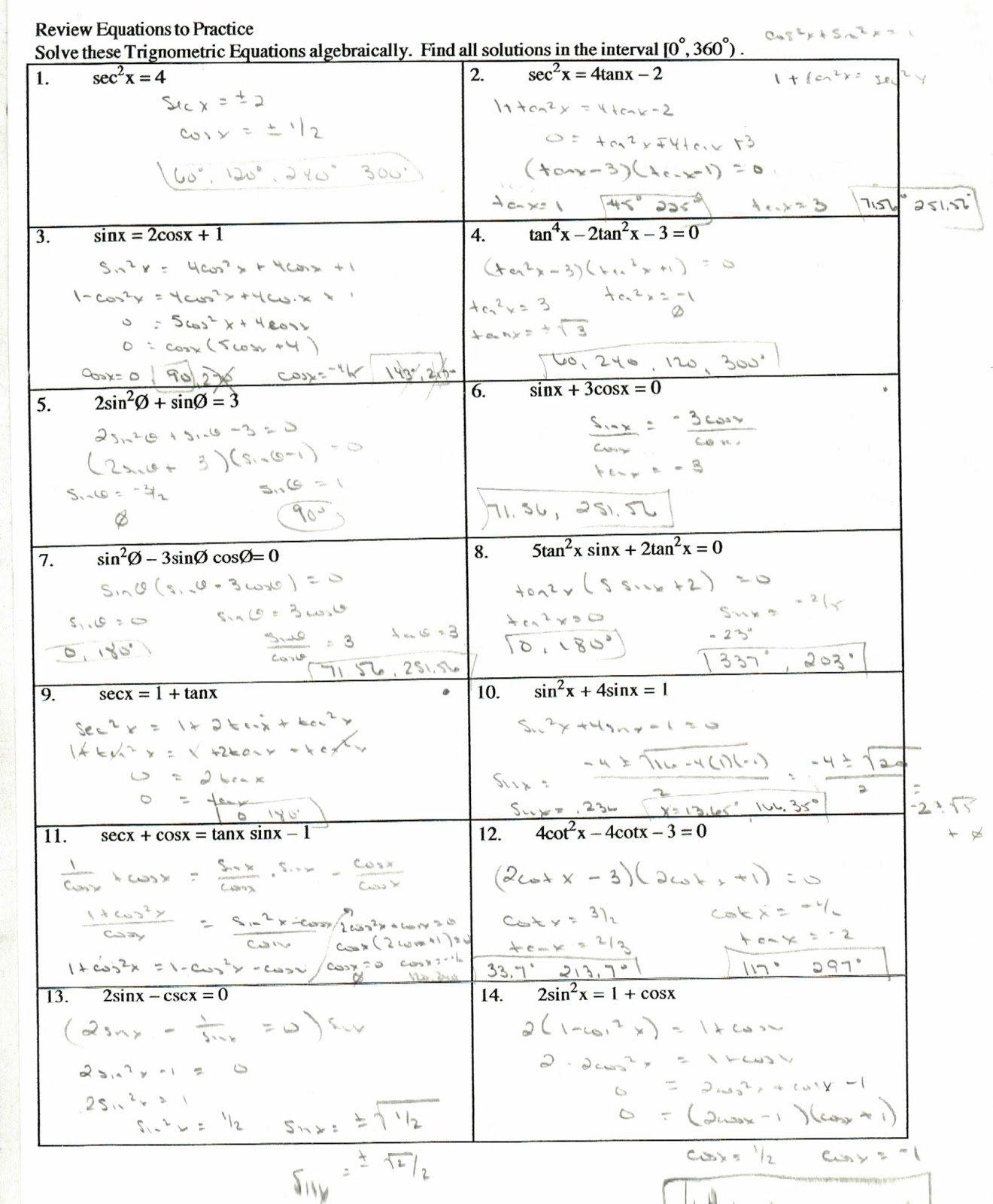 Trig Identities Worksheets