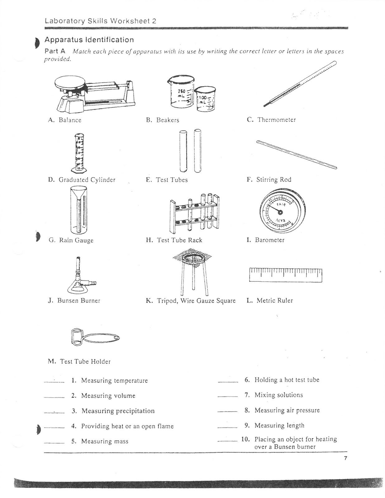 Identify Lab Equipment Worksheets