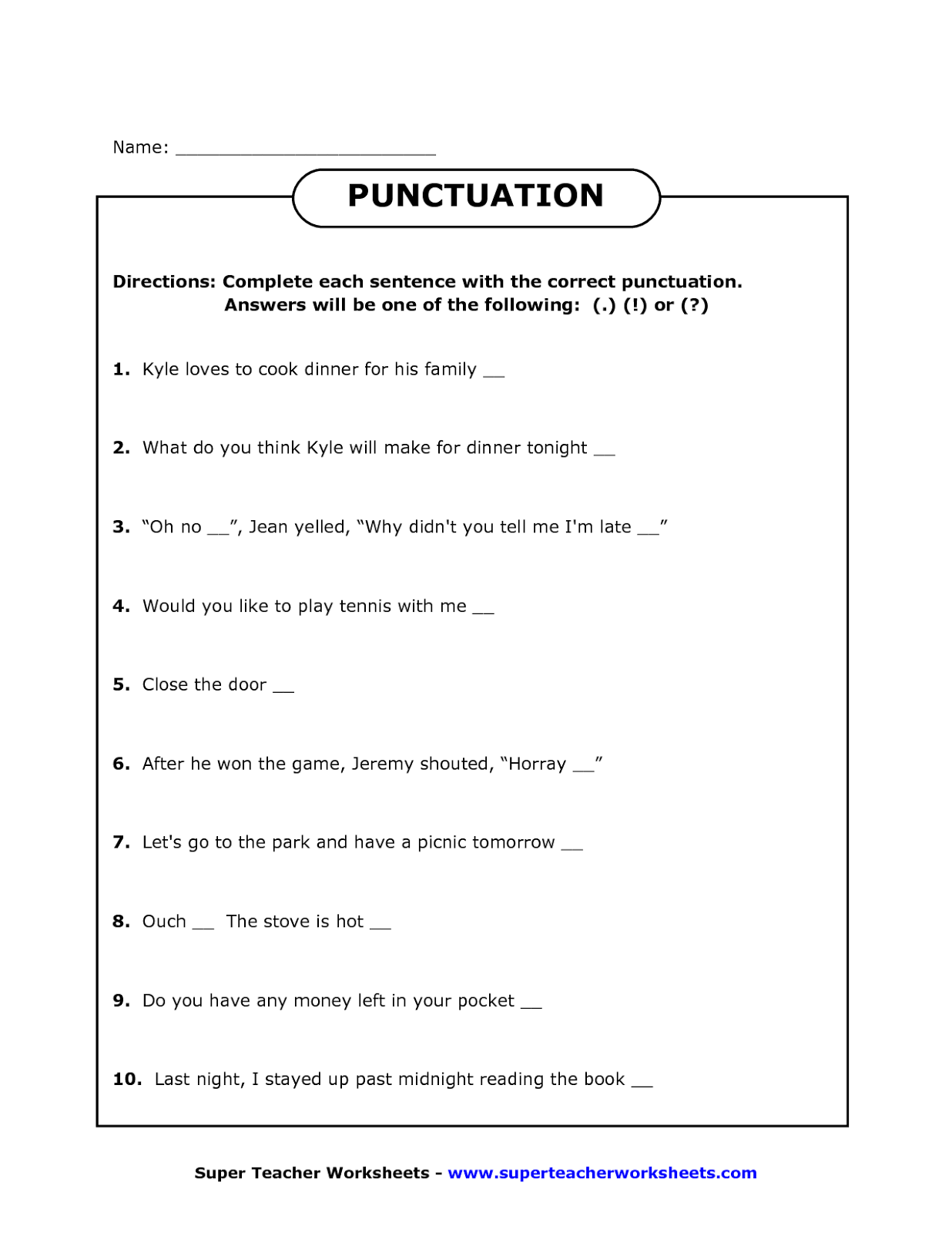 Punctuation Worksheets For Grade 4