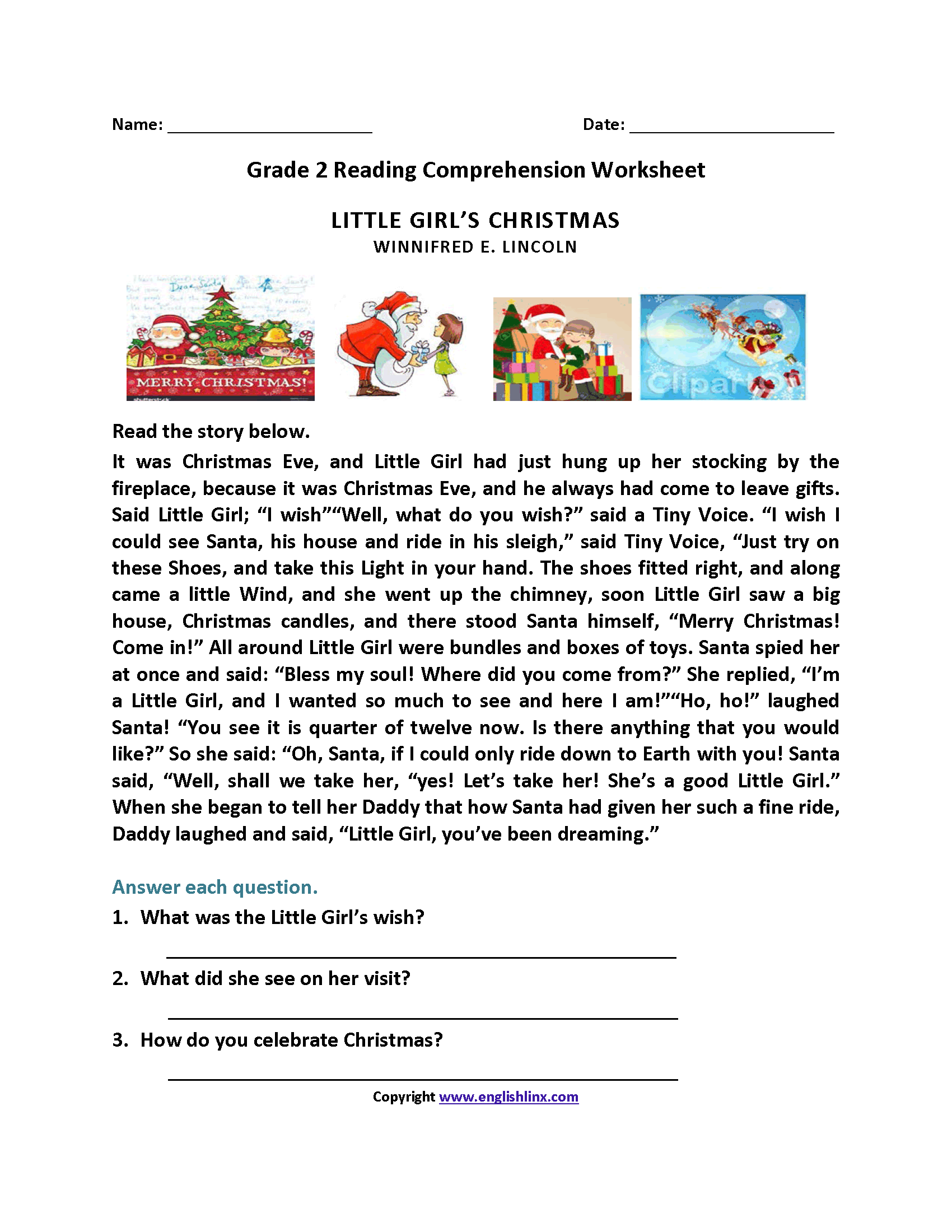 Christmas Worksheet Reading Comprehension Free
